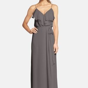 Amsale Nouvelle Drew Bridesmaid Dress Charcoal (M)